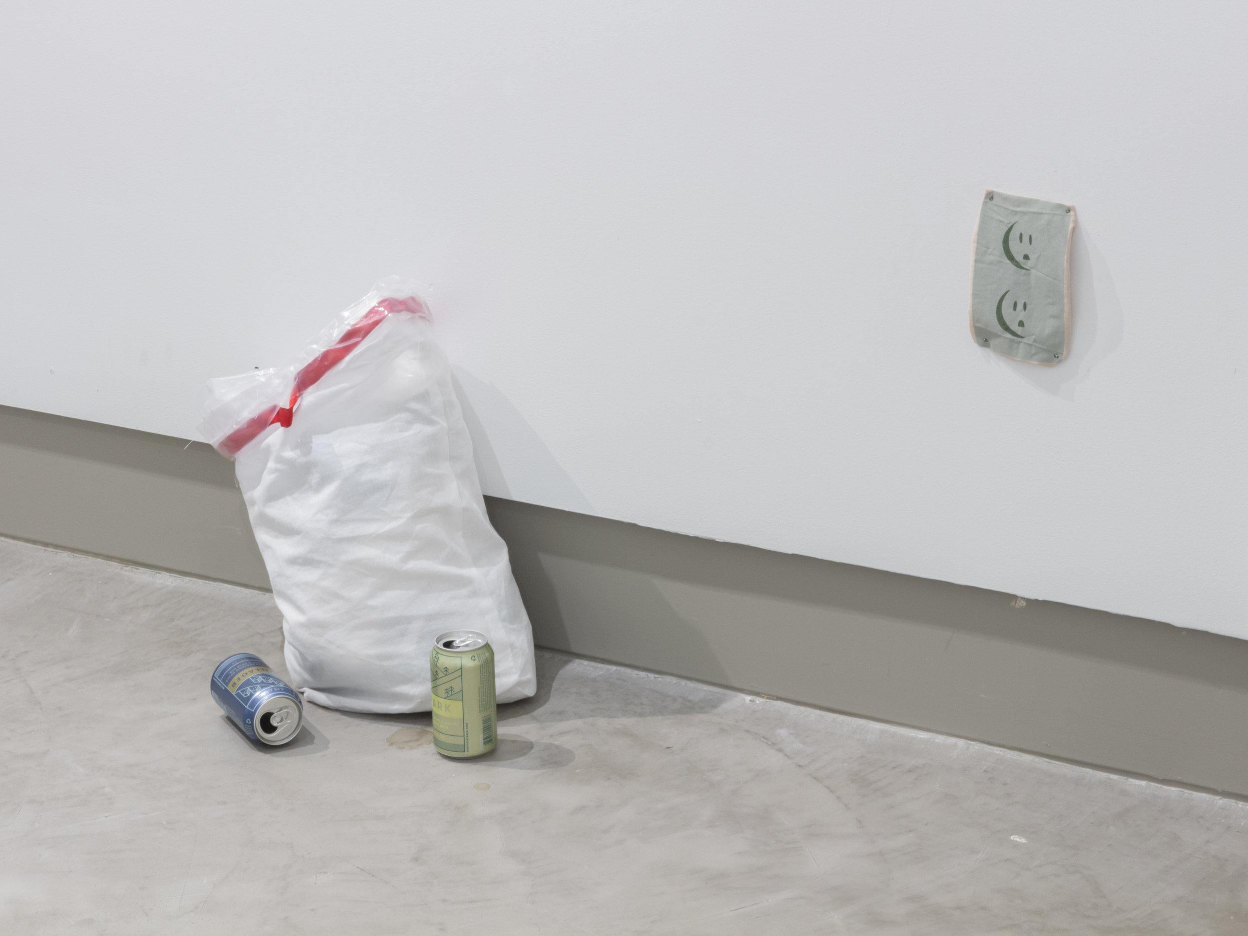 """Hangover"" (2016), Fabric, ribbon, plastic, studio detritus, exhibition opening garbage, Dimensions Variable"