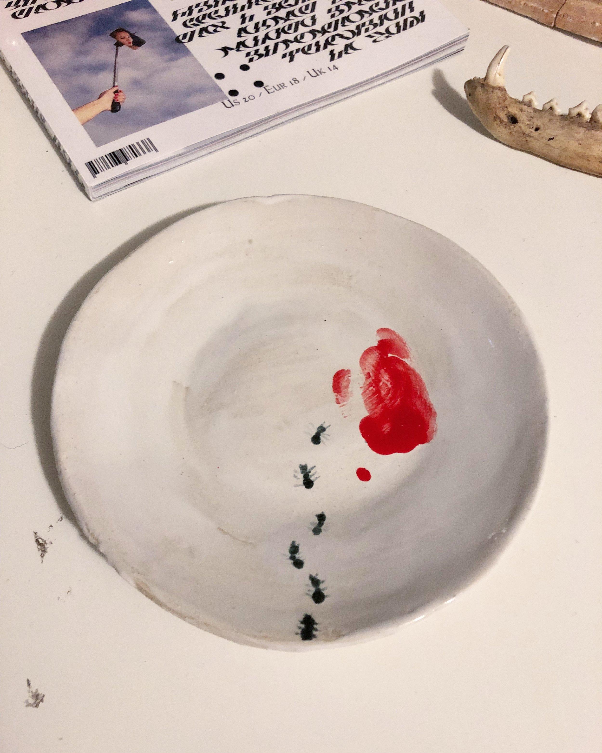 Catch-up! , 2018, Ceramic, 9x9x1 inches