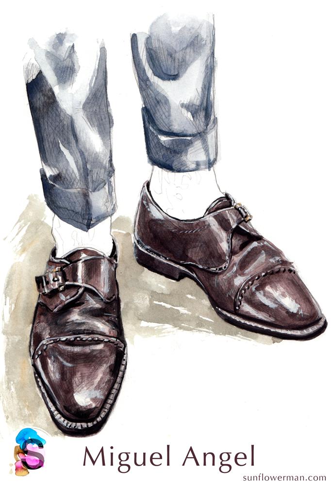 Miguel Angel Monk Strap Watercolor fashion illustration