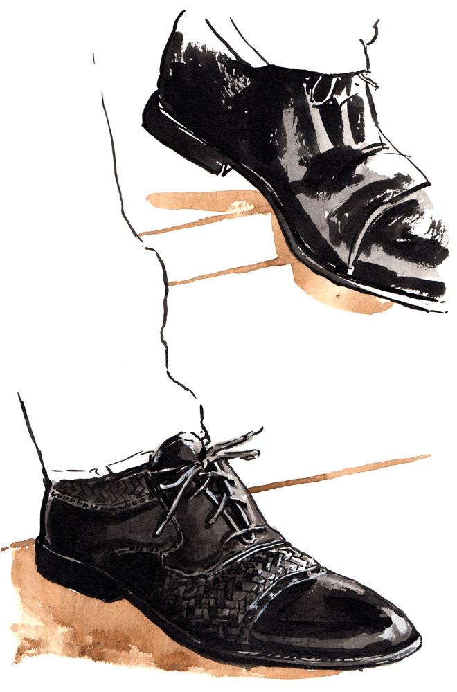 San Remo brogue, woven, black cap-toe shoes.