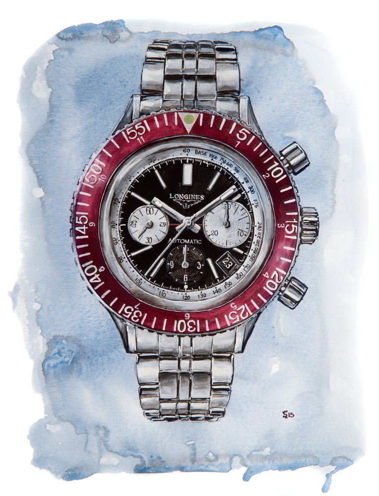 Longines Heritage Diver watercolour watch painting