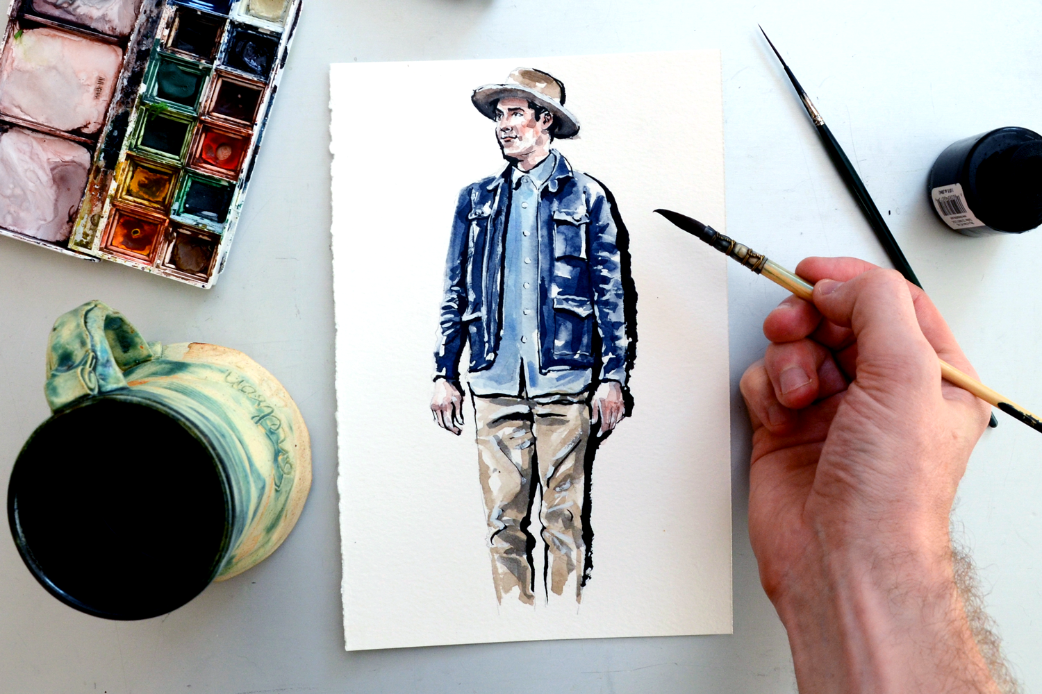 Painting Clay Chambers wearing Grayers Clothing