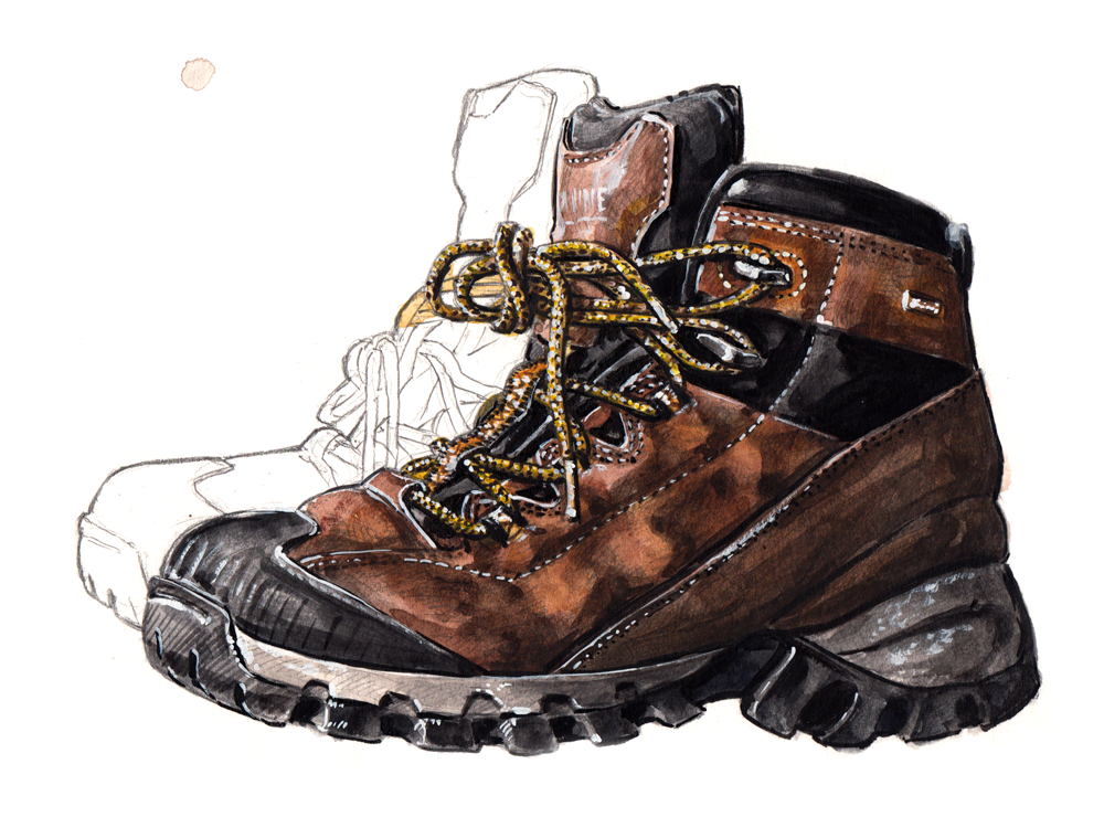 Wolverine Black Ledge boot. (this painting is in the  Aesthetic Guide for the Dapper Man )