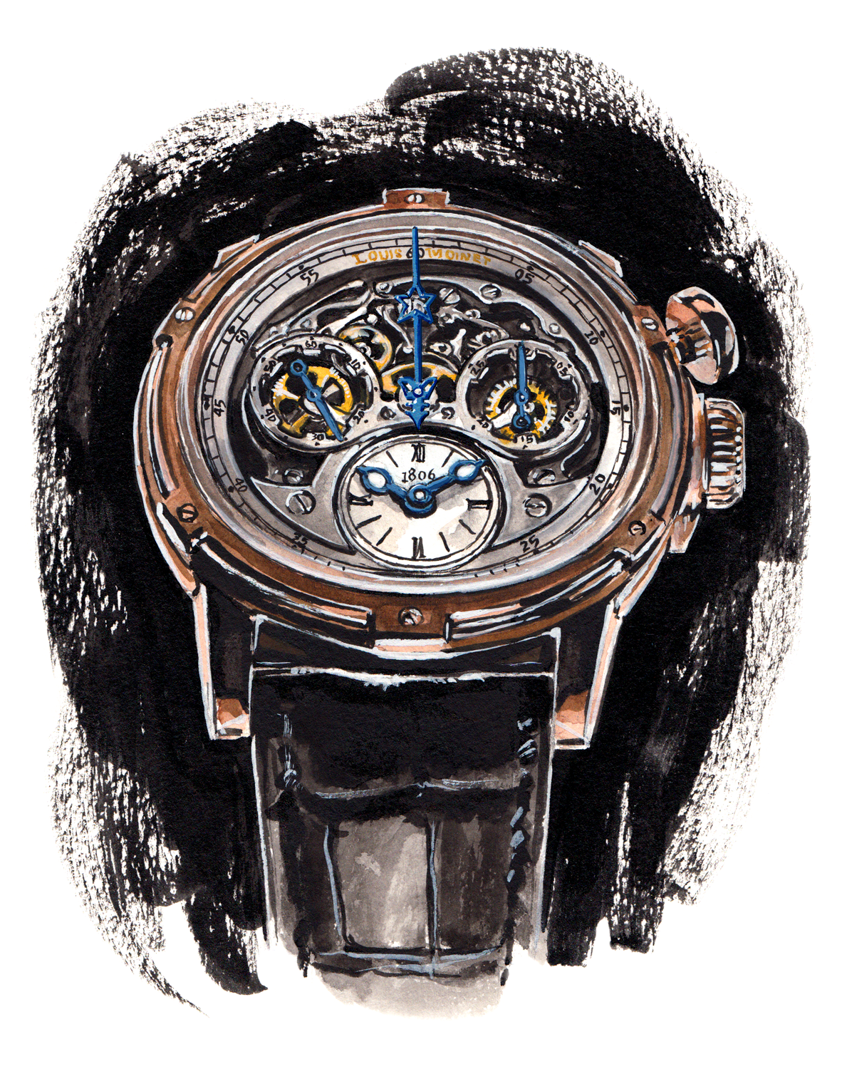 Louis Moinet Memoris chronograph illustration