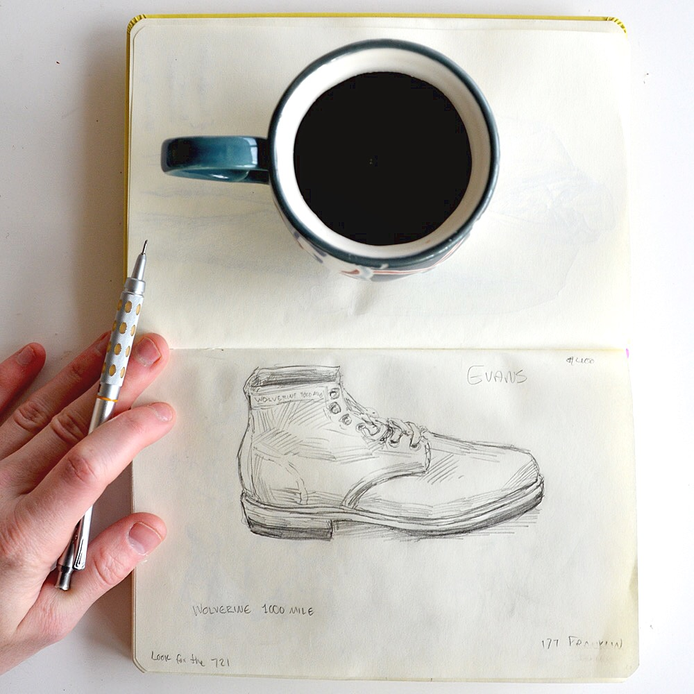 Sunflowerman Sketchbook with coffee and shoes