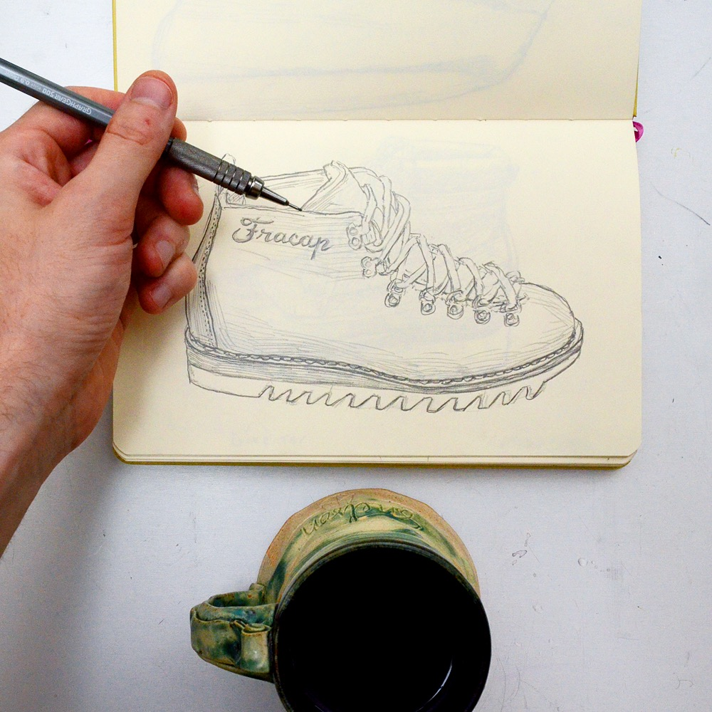 Sunflowerman Sketchbook with coffee and Fracap
