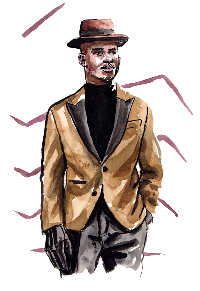 Steven Onoja wearing  Hardy Amies