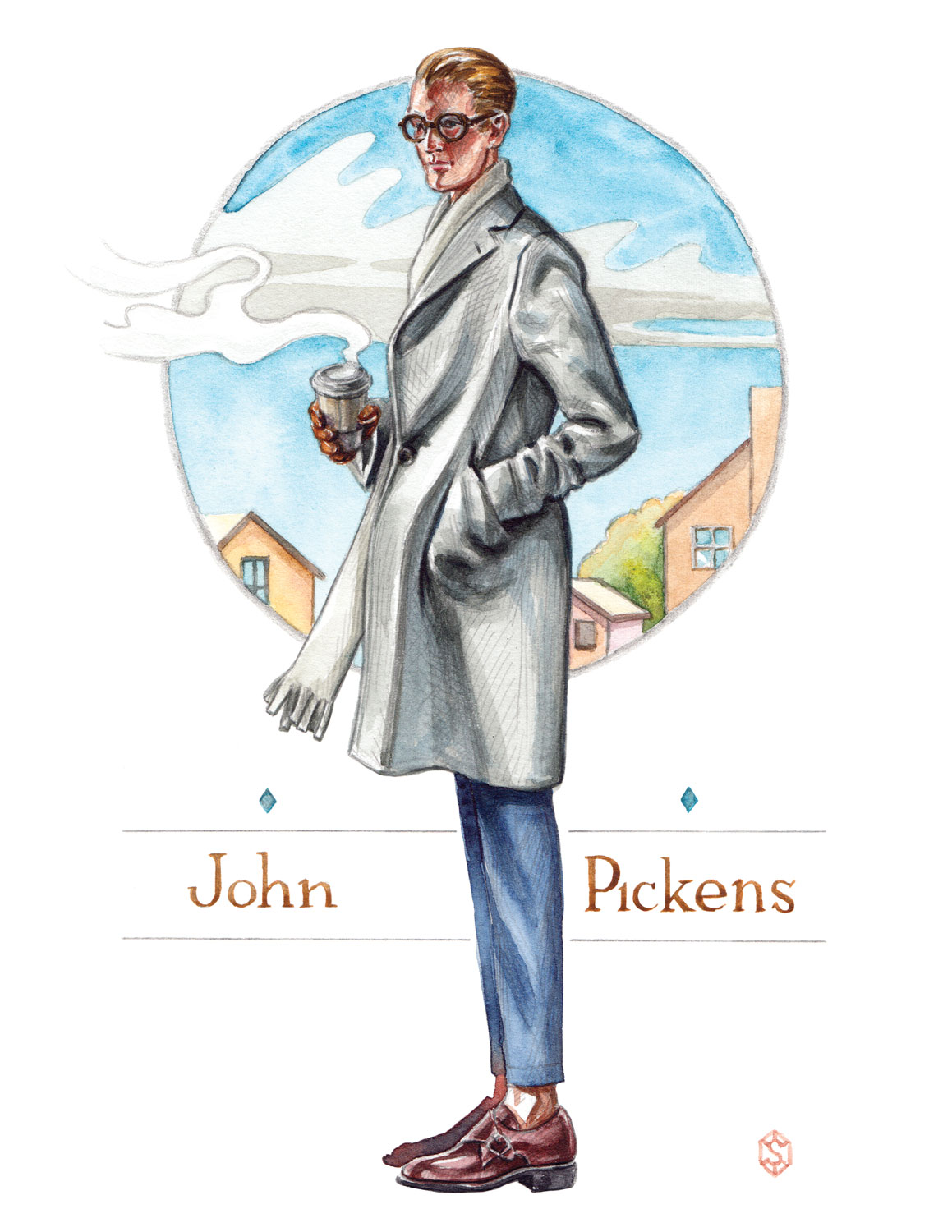 John Pickens Mens Clothing, Autumn 2016 ad illustration