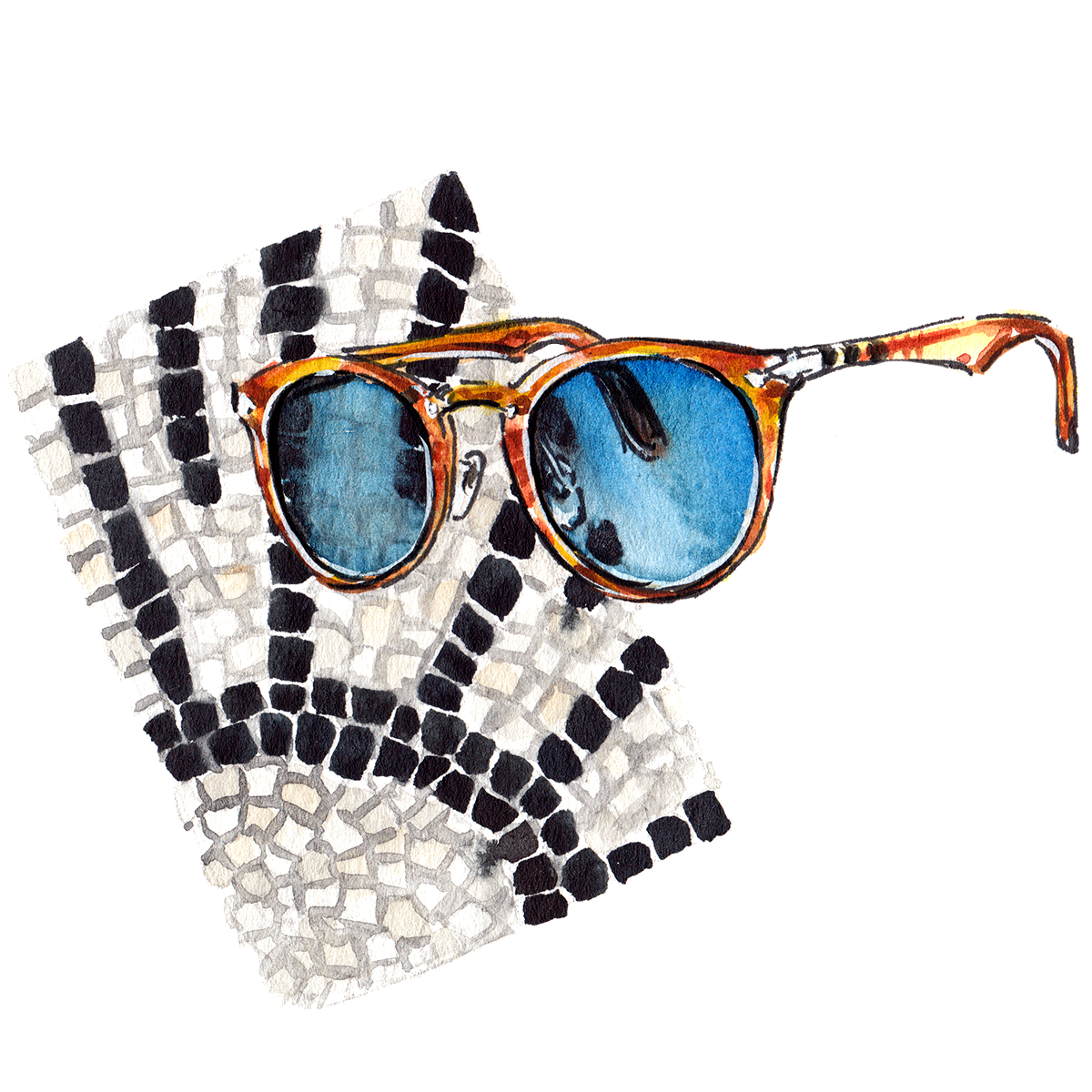 painting of Persol eyewear, with a mosaic background