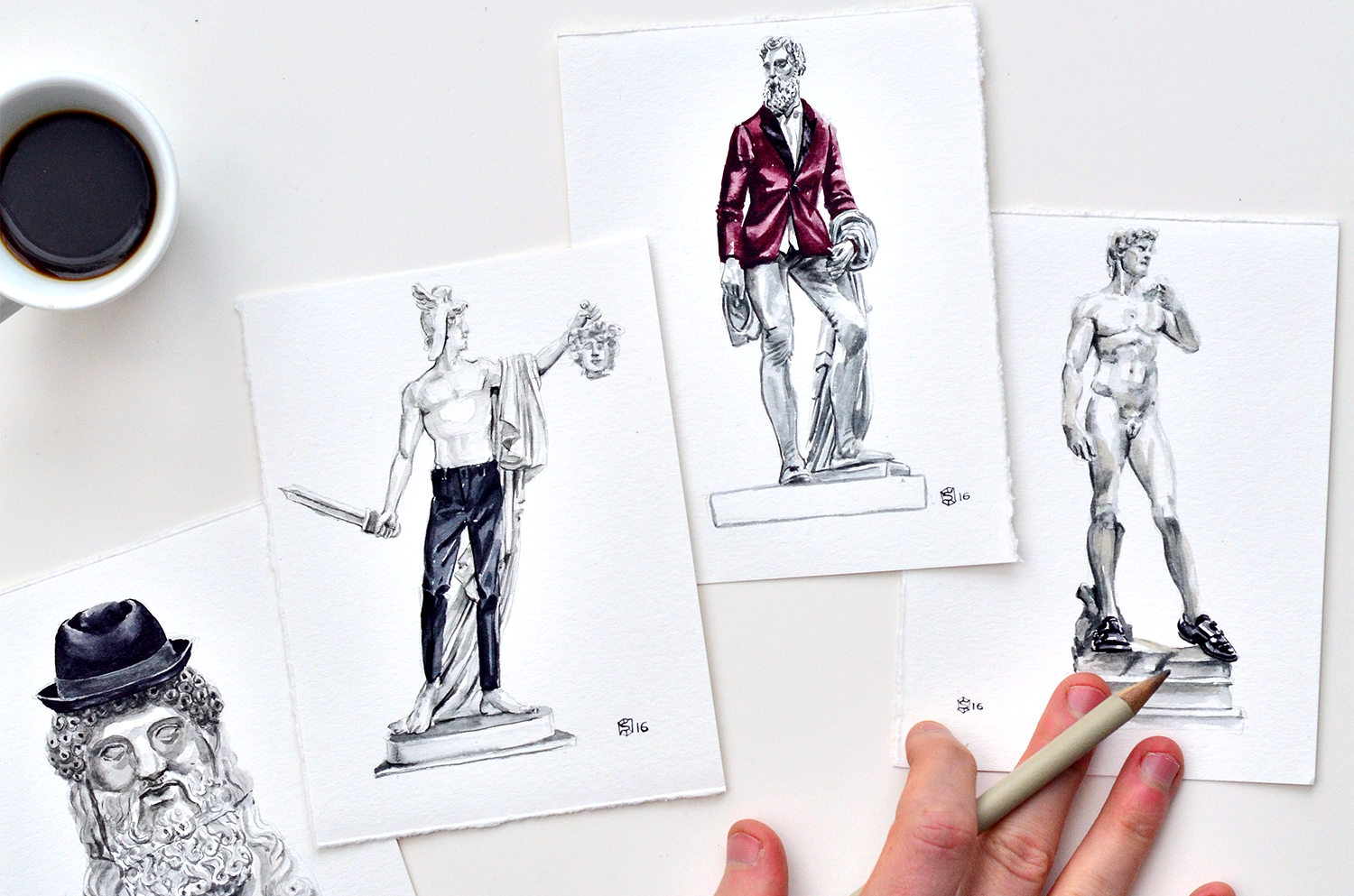 A layout of menswear illustrations that depict Italian sculptures wearing clothing items from Express Men