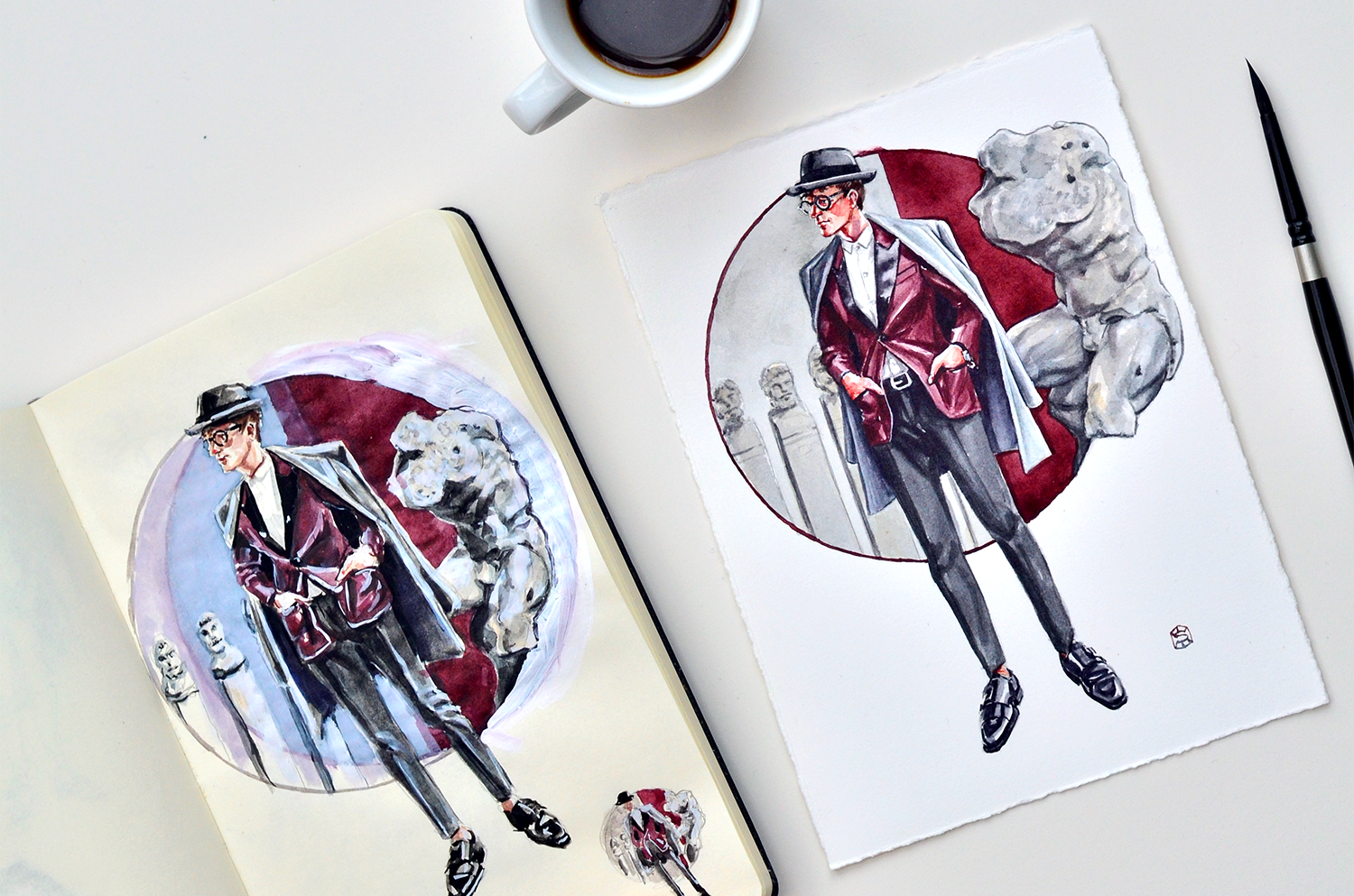 An open sketchbook sits next to a painting, each depicting the Express Man menswear illustration
