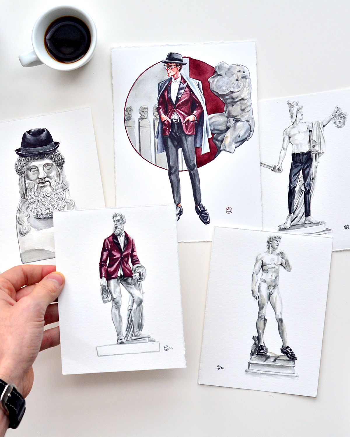 Menswear illustrations of Italian sculptures wearing clothing from Express Men