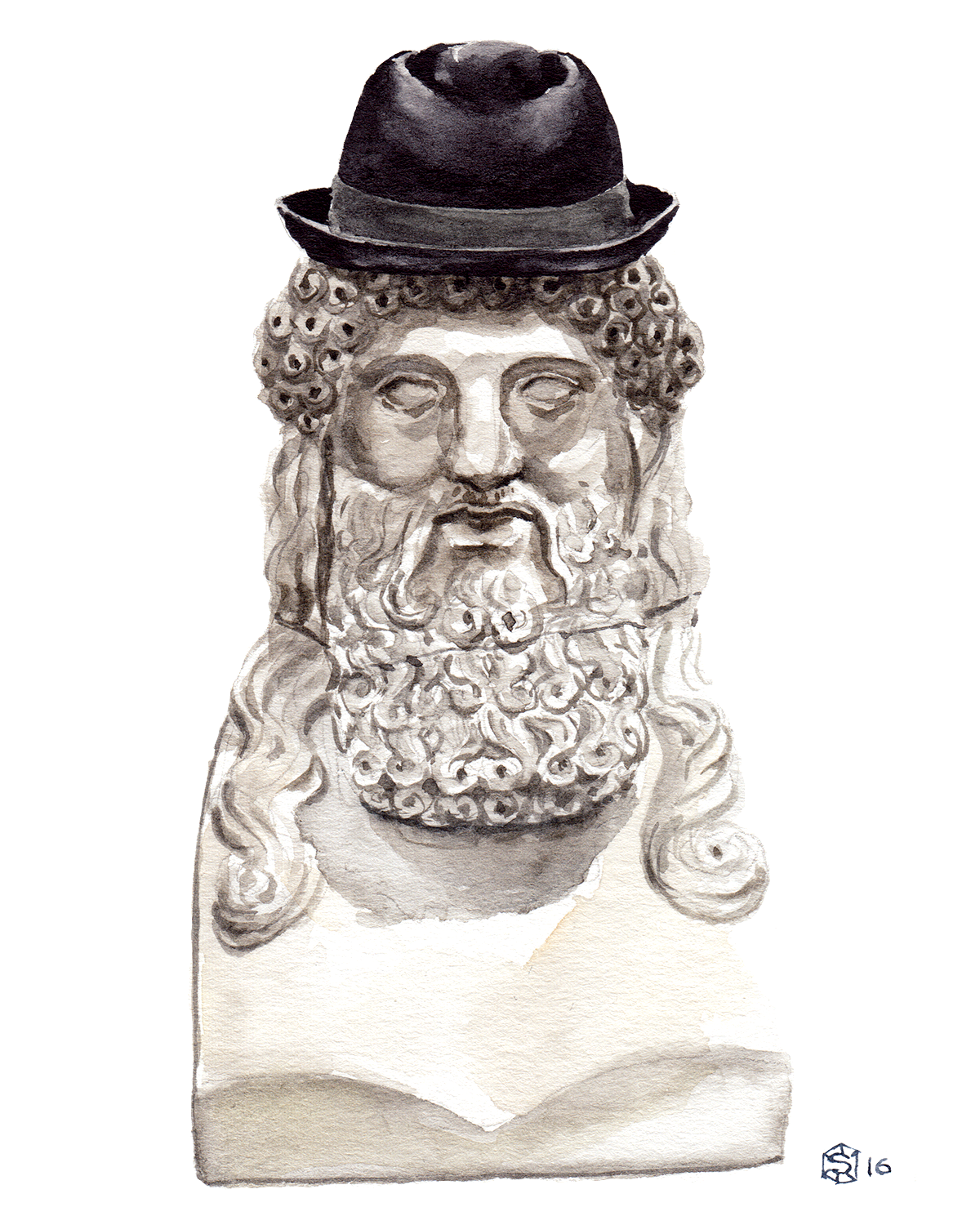 Menswear Illustration of a sculptural bust of a Greco-Roman, bearded man wearing an Express fedora