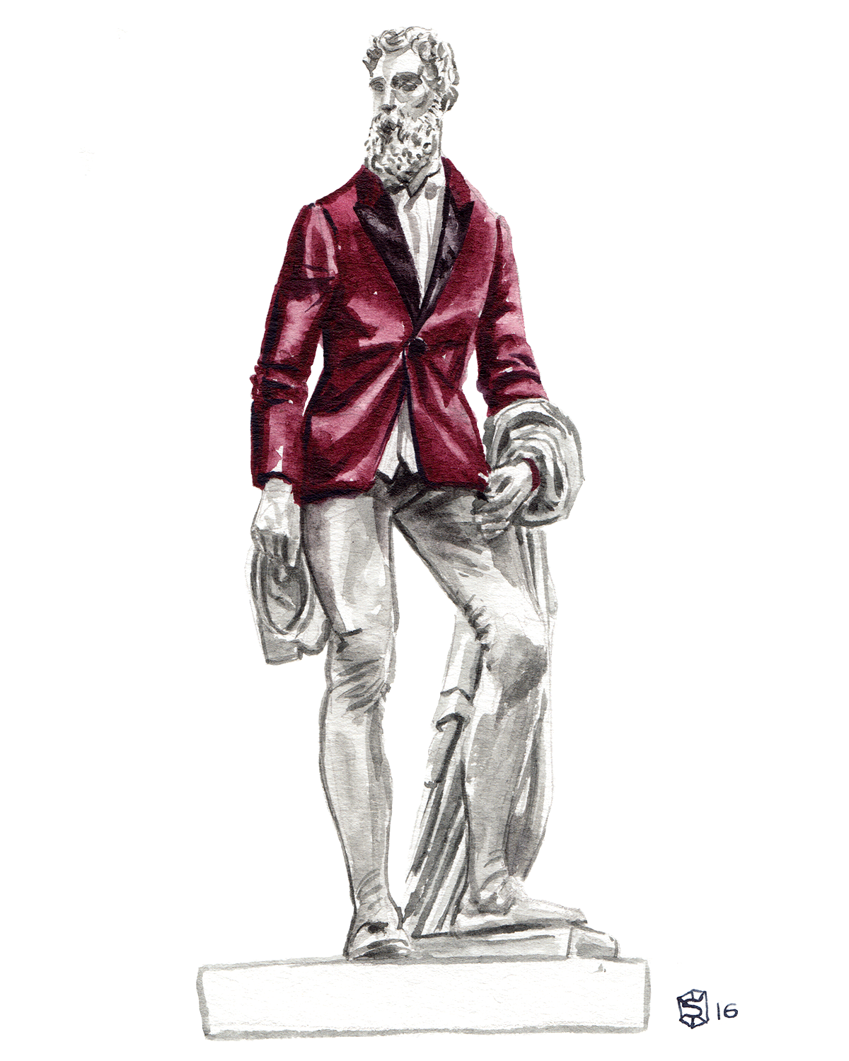 Menswear Illustration of a sculpture of Benvenuto Cellini wearing a red Express tuxedo blazer
