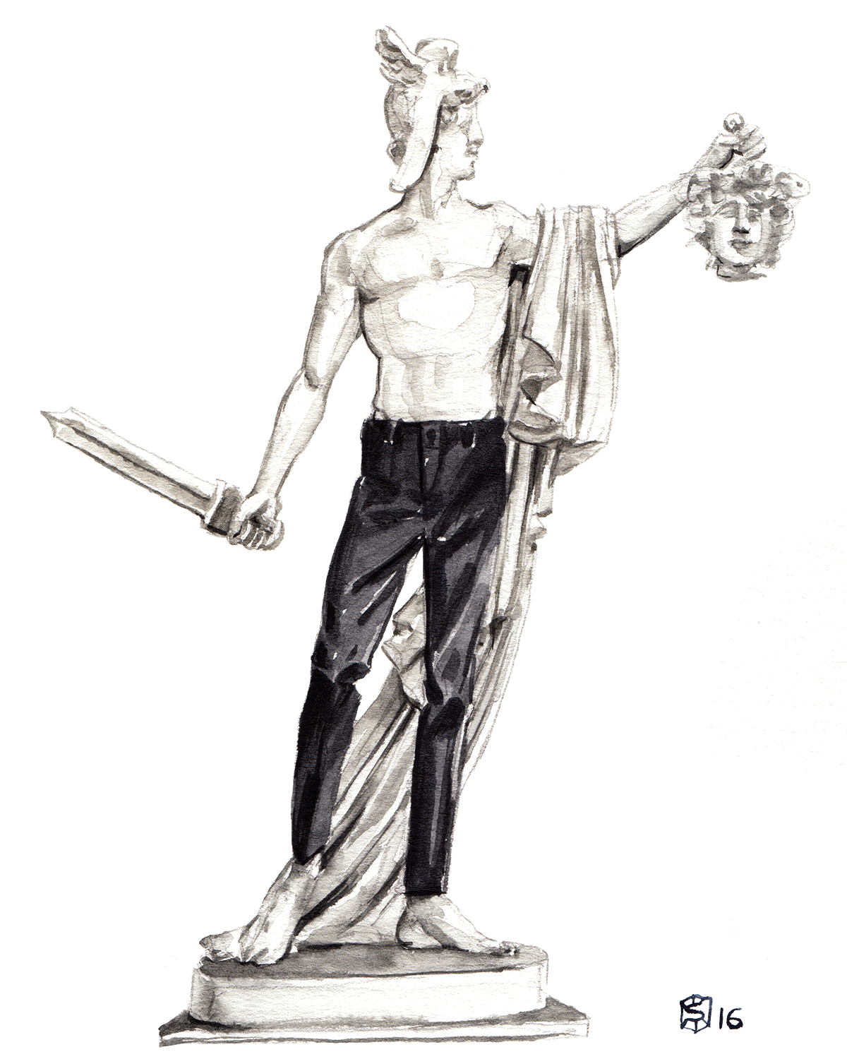 Menswear Illustration of a sculpture of Perseus holding the head of Medusa and wearing an Express trousers