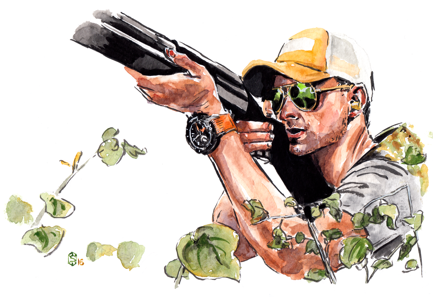 Watercolor painting of a hunter wearing a CLERC hydroscaph chronograph