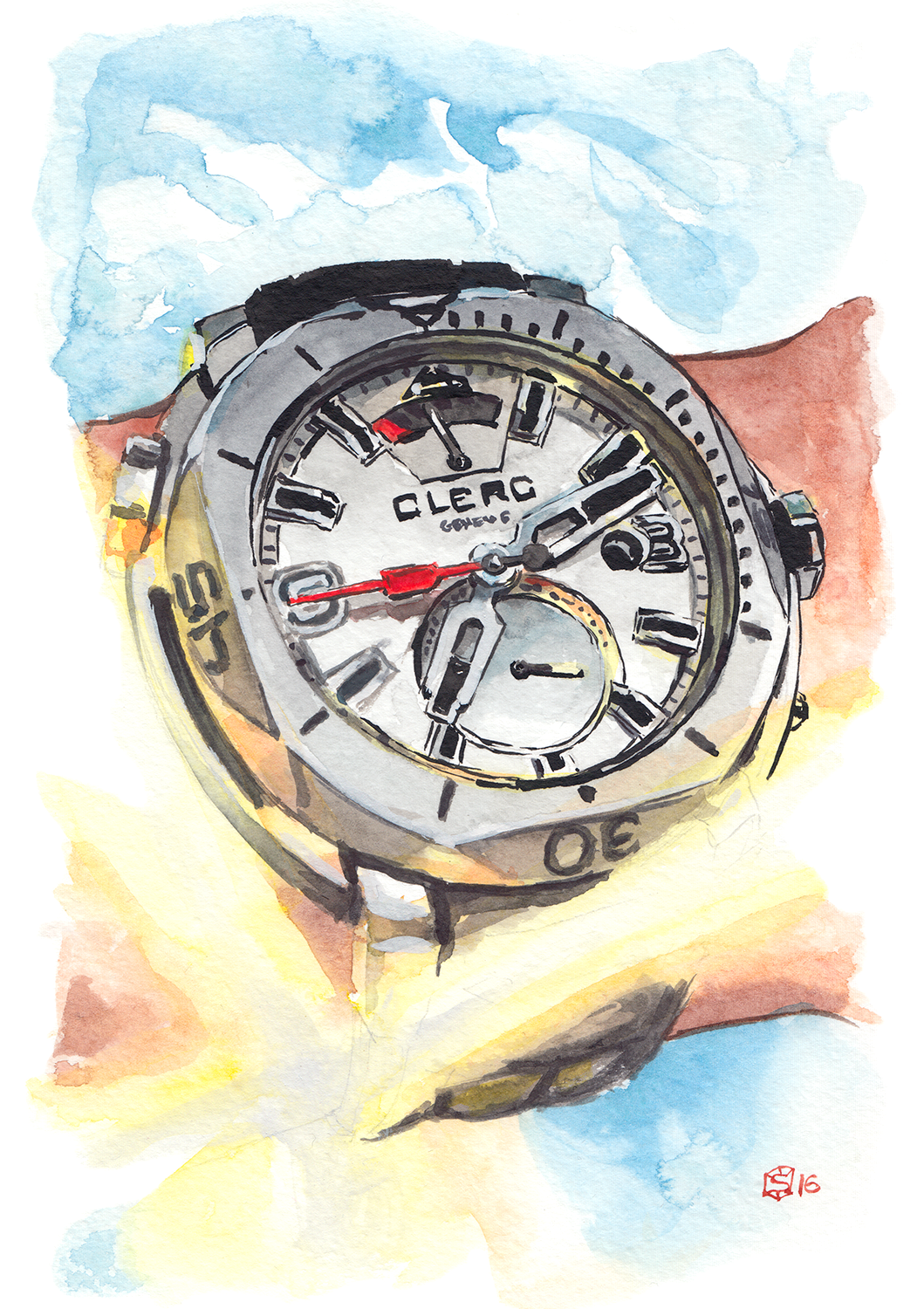 Watercolor painting of Clerc Hydroscaph GMT Power Reserve Chronometer