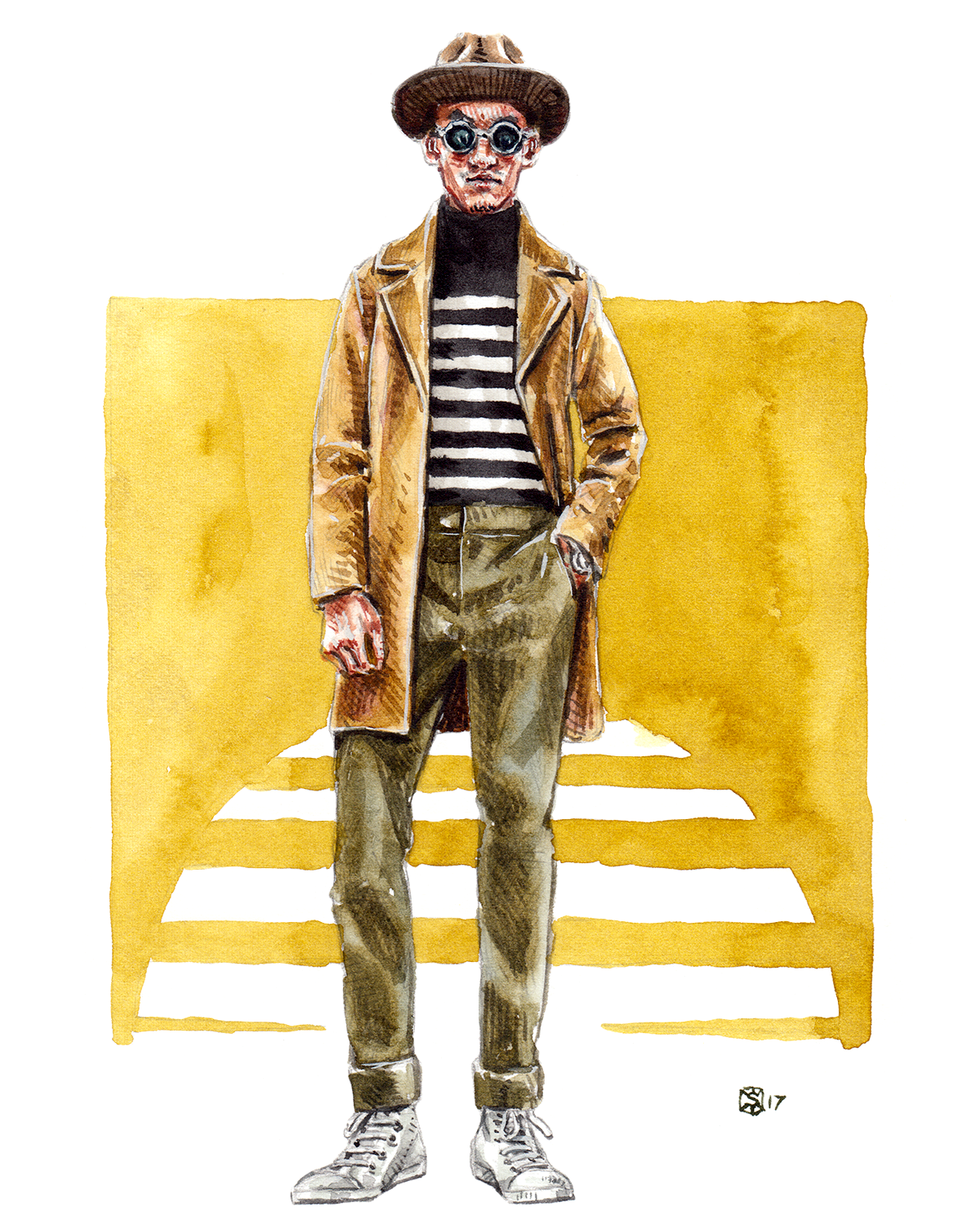 Fashion Illustration of a man standing with and open jacket and his left hand in his pocket. In the background is an 80's style sunset graphic.