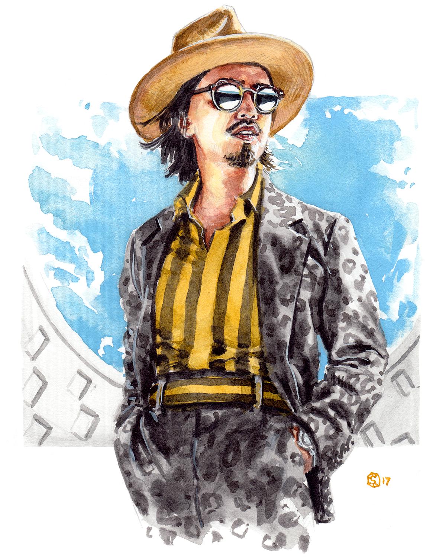 illustration of Denny Balmaceda wearing Robert Geller at NYFWM