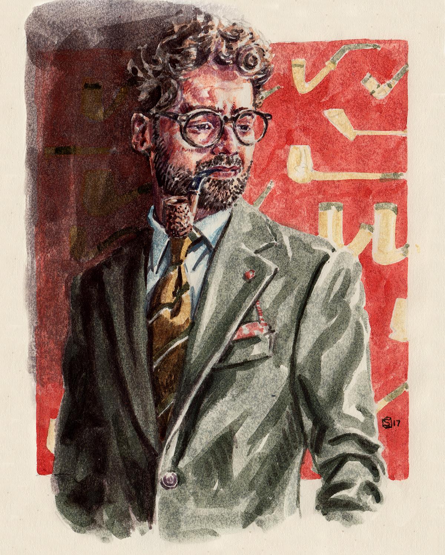 Fashion illustration portrait of blogger and menswear influencer Giorgio Giangiulio