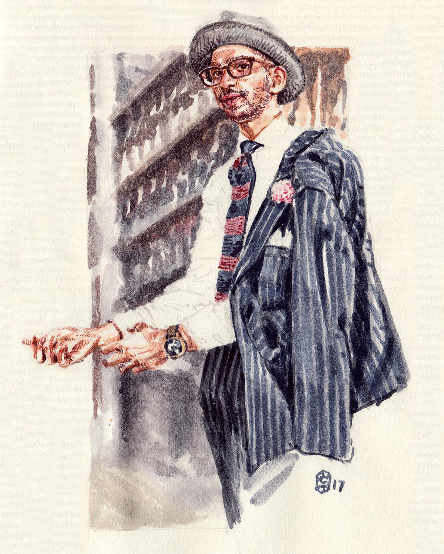 Veesh L Swamy portrait fashion illustration