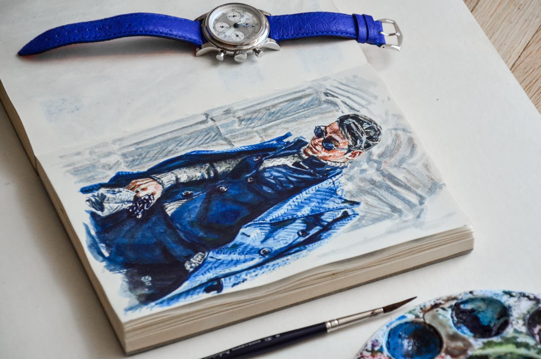 Sketchbook with illustration of Frank Gallucci