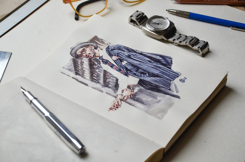 Sketchbook with illustration of Veesh L Swamy