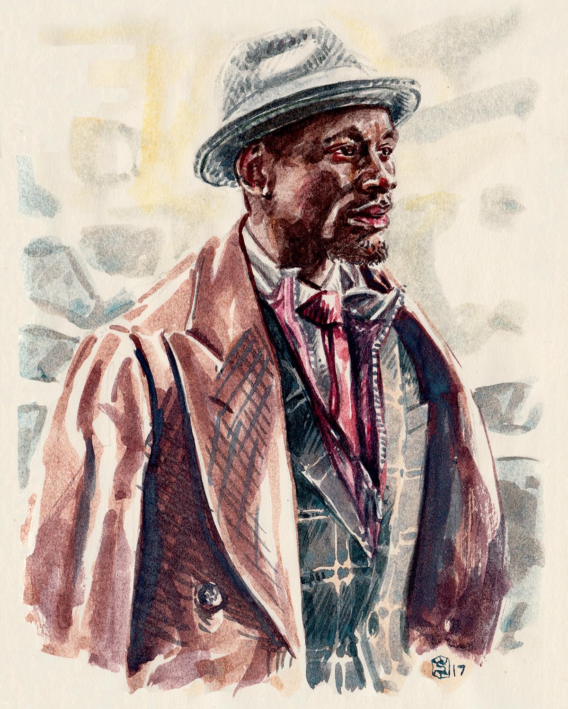 Men's fashion illustration portrait of Salomon DuBois Thiombiano