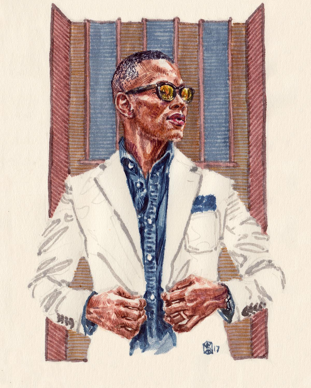 Fashion Illustration Portrait of Sabir Peele, the Men's Style Pro