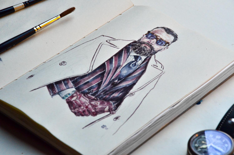 Rui Martins portrait in sketchbook