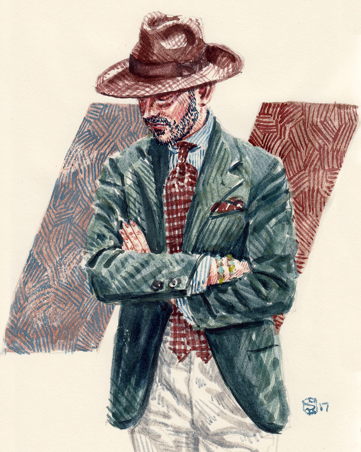 Men's fashion illustration portrait of Benedikt Fries. The founder of Shibumi Firenze.