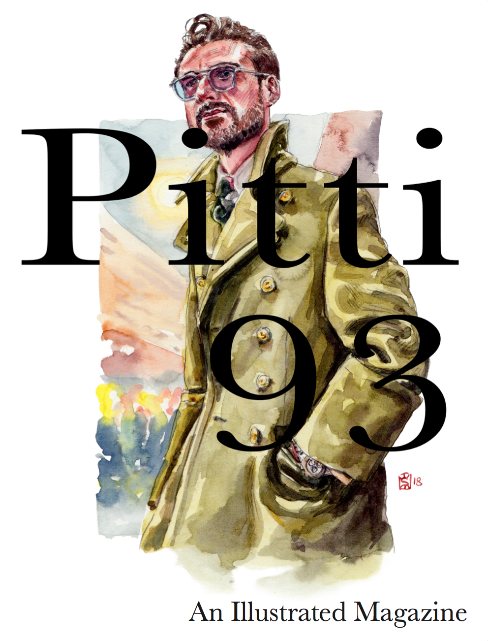 Pitti 93 Illustrated Mag. Common Cover Edition. $18 - A Sunflowerman ProjectThis Magazine Publication features the style, the men and the women of Pitti Uomo, season 93.-Not Signed Edition-No original Sunflowerman Sketch-Shipped by Blurb