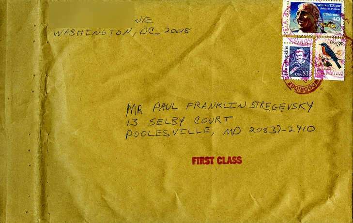 the kraft mailing envelope in which Paul's organizer was returned to him