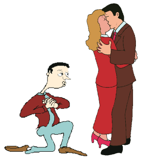 A pathetic-looking man on bendedknee watches as the woman he loves kisses a handsome, tall man.