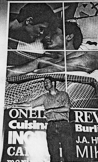 """The author posing in 1987 by the Brandon's poster (Atlanta) where """"Beth"""" was kissing """"Paul"""""""