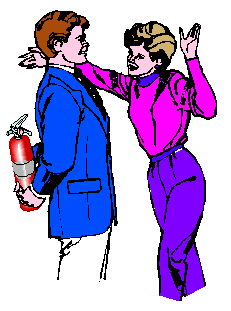 a line drawing of a woman about to hug a man who is concealing a fire extinguisher behind his back