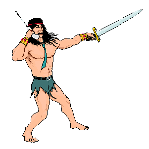 a barbarian holding a sword in one hand, a portable phone in the other