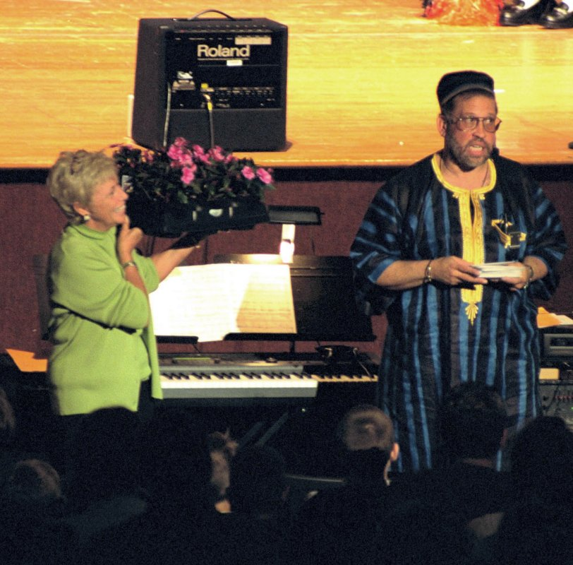 Bill Harris in African garb at a school concert