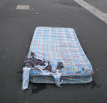 a mattress in the road