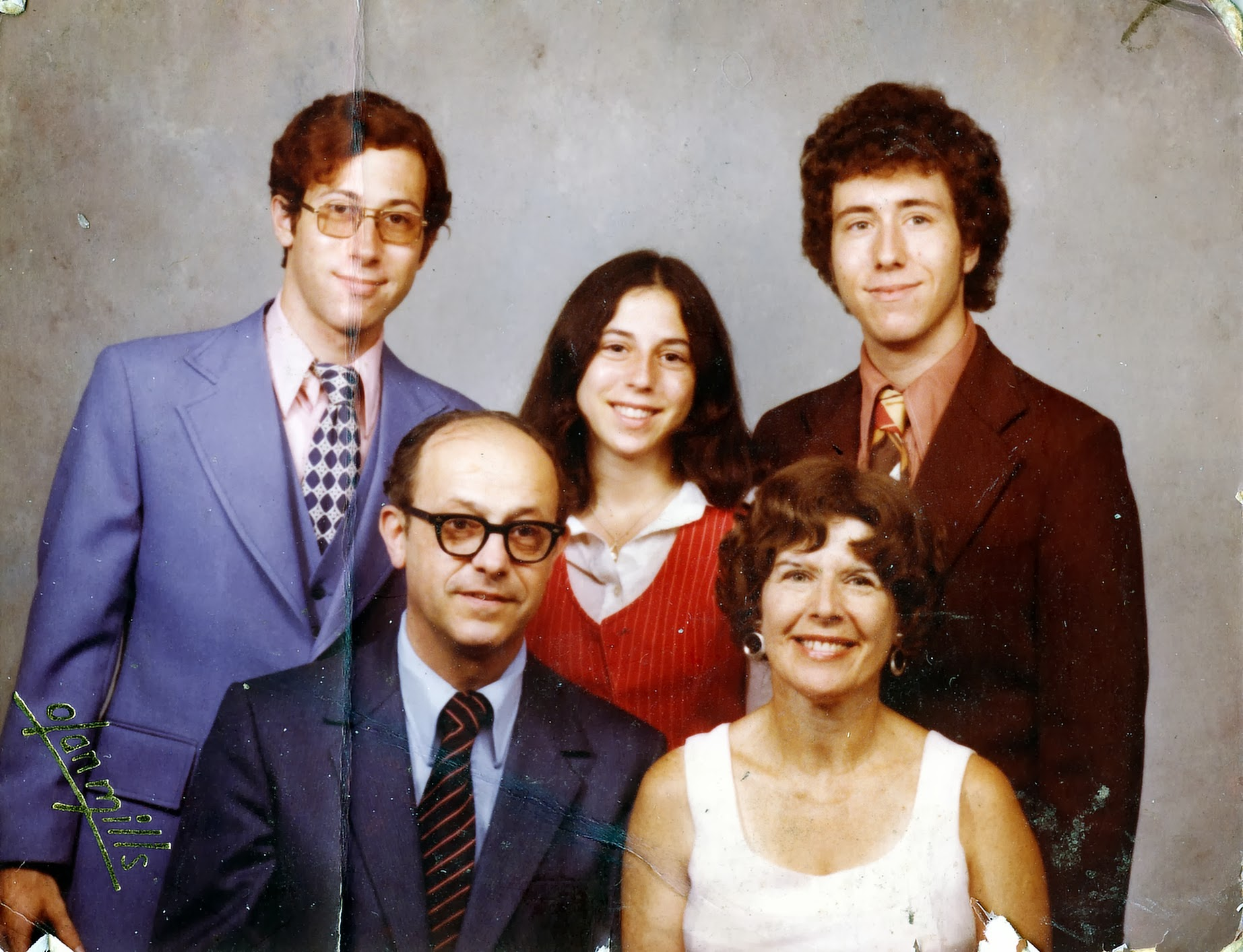 1974 Stregevsky family portrait. Front : Sam and Ruth. Back: Barry, Diane, and Paul.