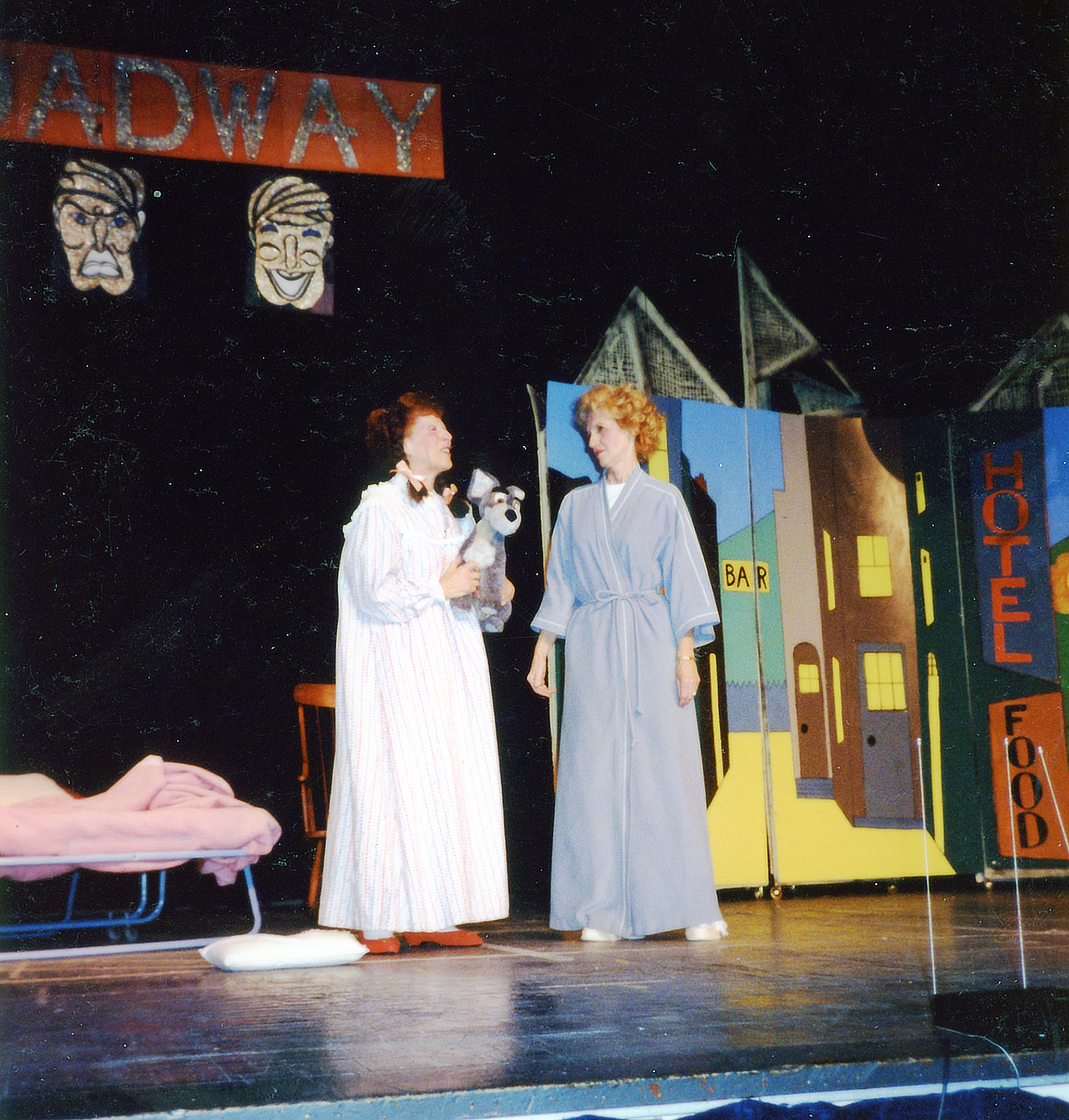 Ruth (left) in one of her Jewish Center musicals (1991)