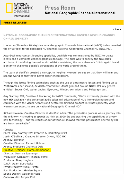 National Geographic Press Release - May 2007