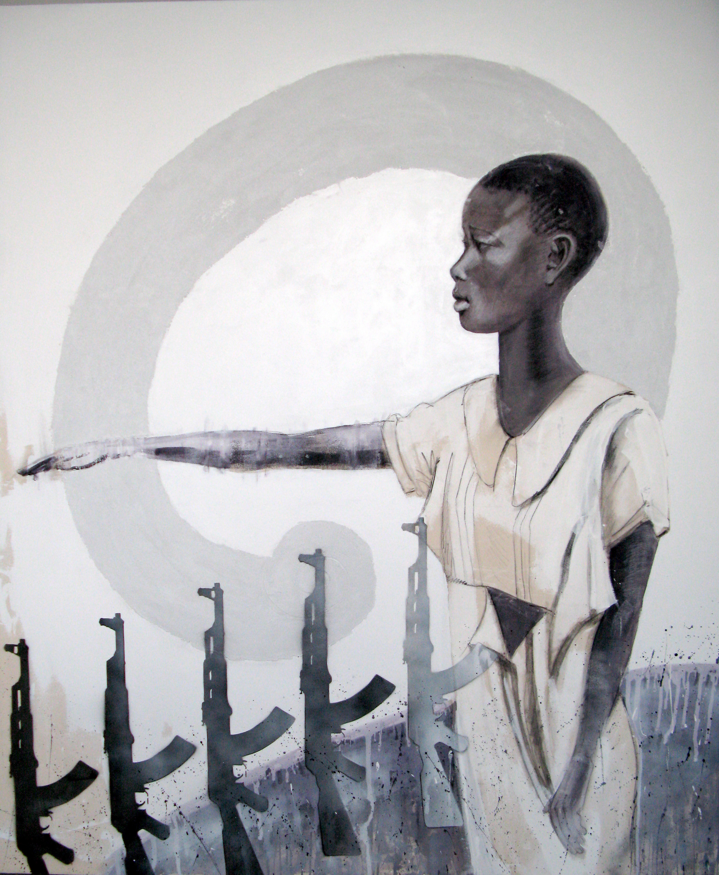 "Hope,  72"" x 84 "", acrylic / areosol on canvas . This painting is about a young woman in Sudan who stands in her torn white dress vowing to avoid rape. She is gesturally quieting violence. Women and girls are the hope of Sudan and Africa.."