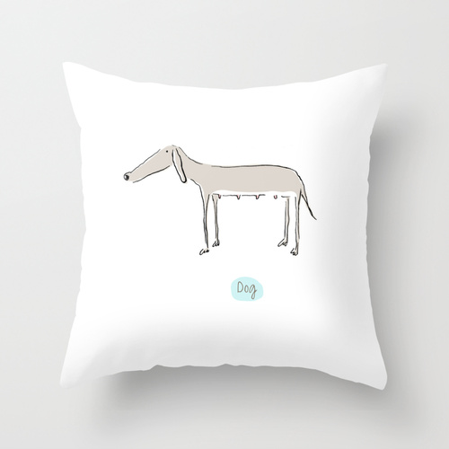 Dog Design on Throw Pillows Available at  Society6