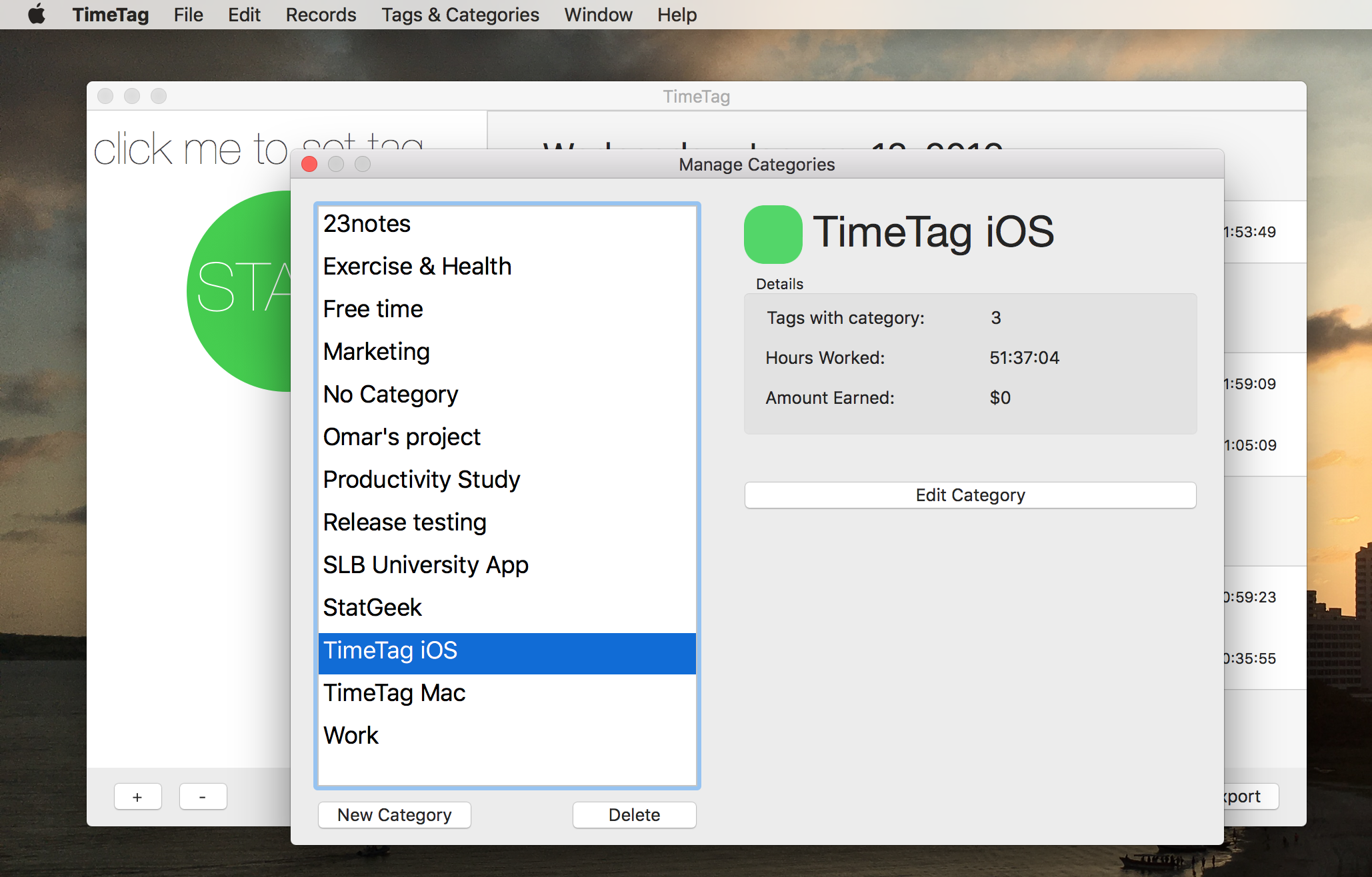 Categories are like projects, and can also add a touch of color to your app. Each category has a name and a color.