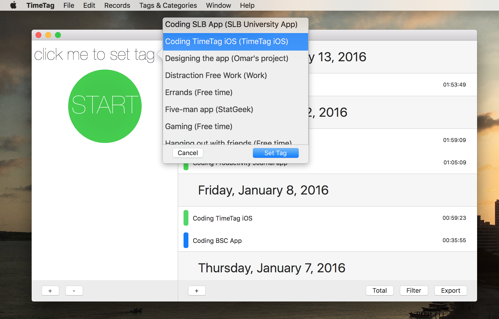 When you have your Tags set up (see below), you simply click to set a tag for your timer. You can set a tag any time during a timer-- even after you click start. It's saved when you press to stop!