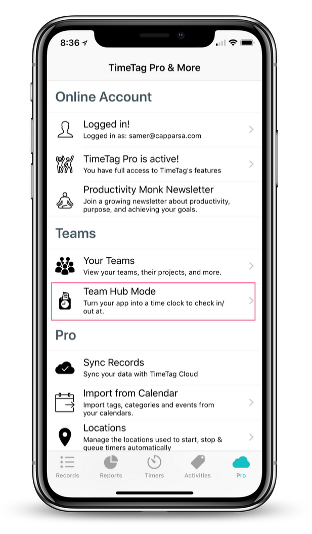 Step 2 - Find Team Section - Once logged in as a manager/owner, the Team section should become available. Tap on Team Hub Mode