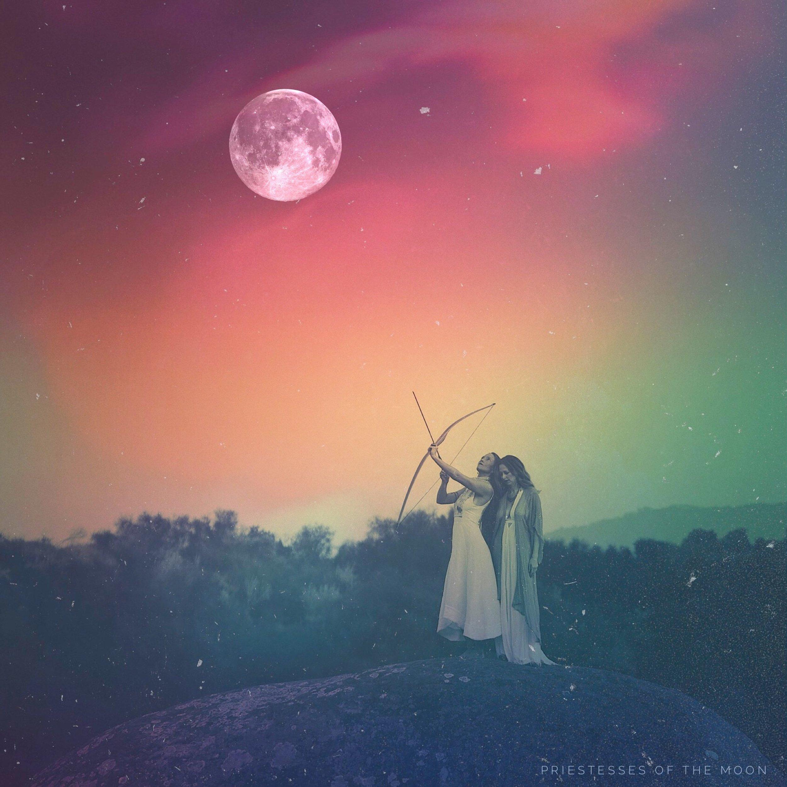 Pic of Achintya Devi & Joanna Ameya for Priestesses Of The Moon. Original by Mariana Schulze, Art Edits by Achintya.