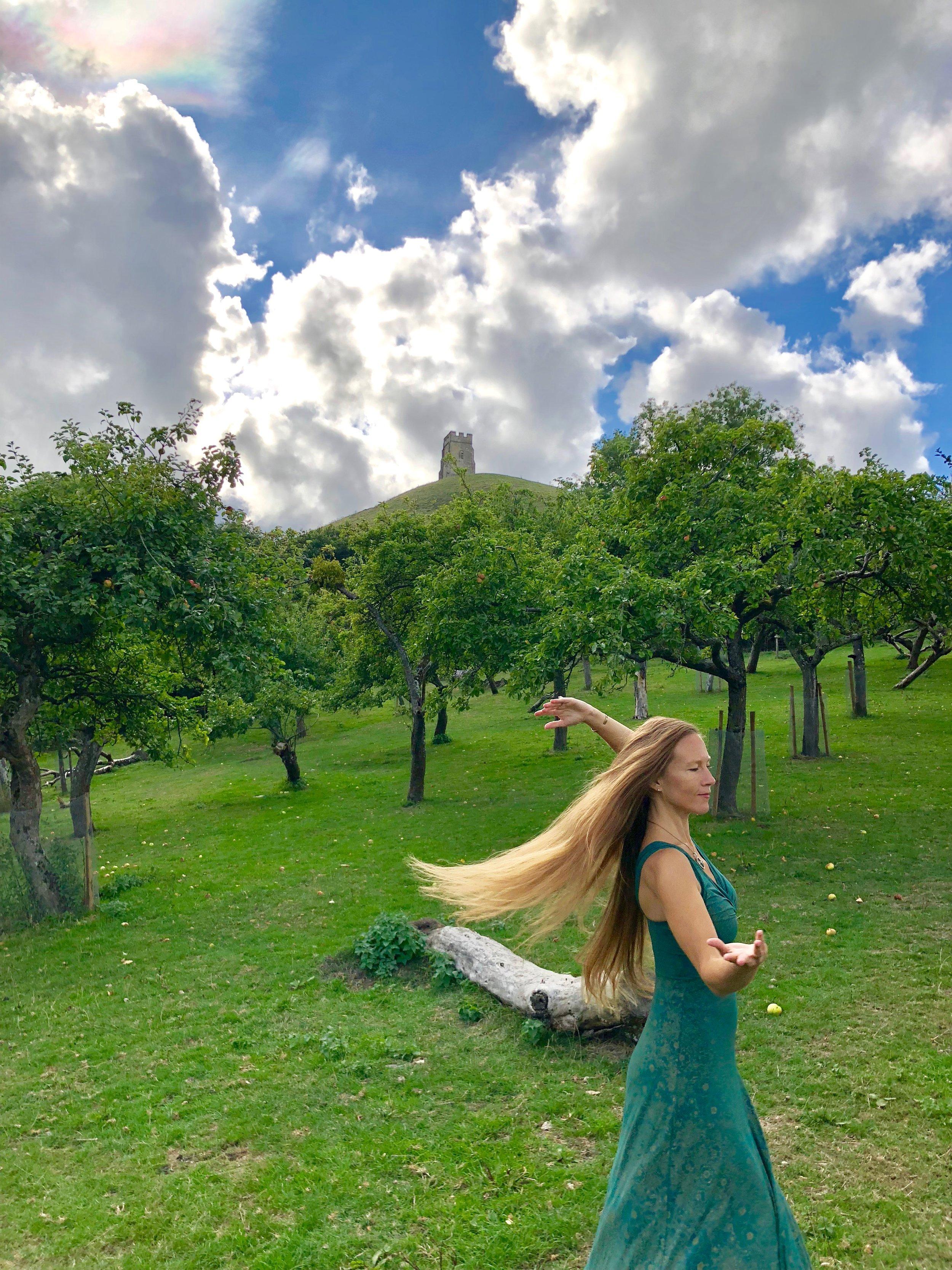 Gratitude Dance with Rainbow & Apple Tree Devas in Avalon.