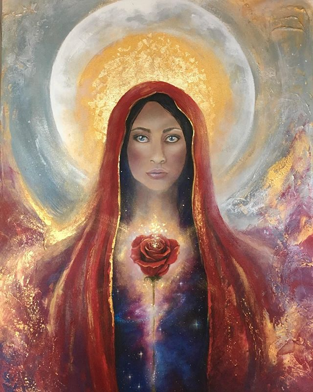 "Tomorrow, as the Sun enters Leo, we honour & celebrate Mary Magdalene's Feast Day, who was officially commemorated by the Vatican on June 10, 2016 as the ""Apostle of All Apostles"" after centuries of distorting Her True Essence. 🔥 2000 years ago when She walked the Earth, both She & Yeshua laid a Holy Rose Grail Grid for The Way of Love to emerge within humanity when the timing was ripe. That time is here now, as we simultaneously die a world of abuse and fear, and birth a world of communion and Love. As we transition into this prophesied era of The Golden Dawn, Mary Magdalene is here to assist us from the unseen realms as we do this sacred work together. . 🌹 It is beautifully shared that Mary Magdalene wept tears at the foot of Yeshua's crucifixion, and when they fell upon the Earth they miraculously created roses that grew and bloomed at his feet. These became known as the Roses of The Magdalene. And these Roses, imbued with unconditional love, are a part of your Divine encoding to grow and bloom within your Womb, Heart and Mind as you become the Living Grail Chalice. . 🏆 In this turning of the Ages, She bares the gifts of empowering you to remember your Feminine Womb Power, to reclaim your erotic innocence and sensual delight as holy, to release judgment, to remember Divine Union and the powers of co-creation, and to live as unconditional Love. . 🌹 As a FREE GIFT, I welcome you to a 30 minute Guided Rose Ritual & Meditation to commune with Mary Magdalene at this time of Her Feast Day (or whenever you wish to connect with Her). May this offering serve you on your path. To access your Ritual Meditation, CLICK LINK IN BIO, enter your name and email on the Goddess Rising Homepage and it will be sent to your email. . ⚓️ After listening to the Meditation Ritual, I invite to share in our Goddess Rising Sisterhood Facebook Group (LINK IN BIO) as we celebrate and honour Her together!  Blessed Be! ❤️Love, Achintya . . Phenomenal Art by Beloved Priestess of the Moon ➡️@linzyarnott⬅️ #marymagdalene #priestesspath #magdalenepriestess #priestessesoftherose #priestessesofthemoon"